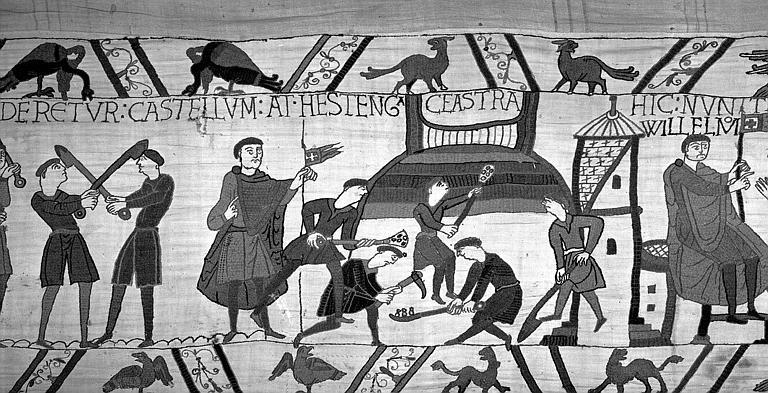 Tapisserie de Bayeux (avers),  56B : Ouvriers creusant un fossé autour du camp Normand