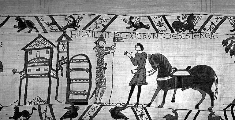 Tapisserie de Bayeux (avers),  58B : Guillaume allant à la rencontre d'Harold