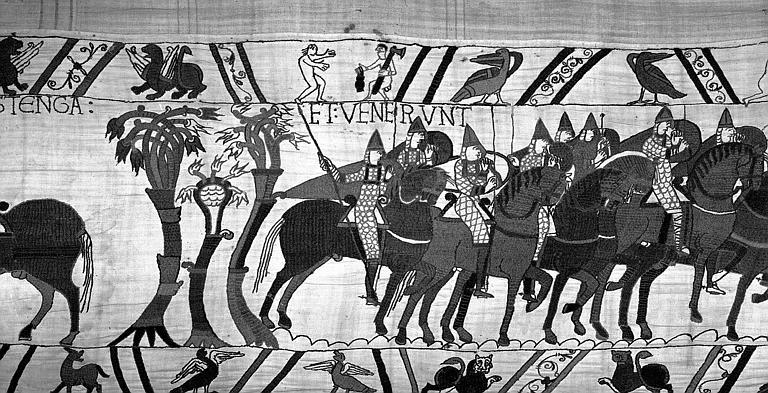 Tapisserie de Bayeux (avers),  59B : Normands à cheval s'avançant en ordre de bataille