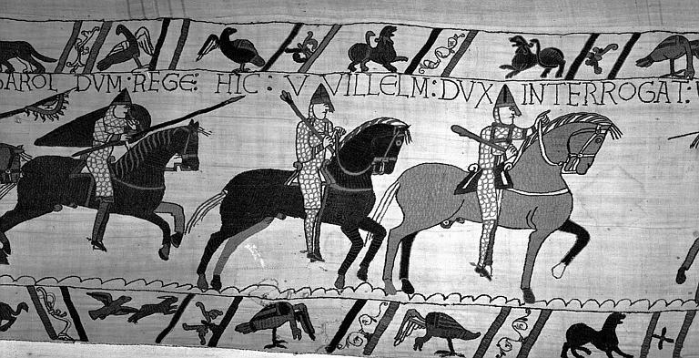Tapisserie de Bayeux (avers),  61B : Guillaume en arme et à cheval rencontre un soldat d'Harold