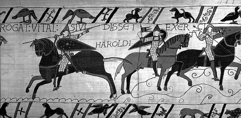 Tapisserie de Bayeux (avers),  62B : Le soldat d'Harold indique à Guillaume où est l'ennemi, le duc le laisse libre