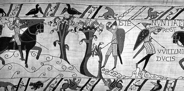 Tapisserie de Bayeux (avers),  63B : Le soldat prévient Harold de l'approche des Normands