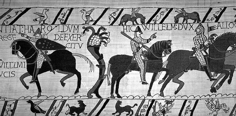 Tapisserie de Bayeux (avers),  64B : Guillaume harangue ses soldats