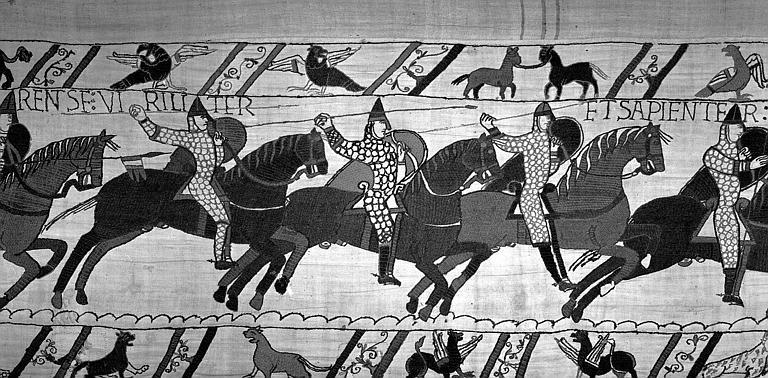 Tapisserie de Bayeux (avers),  66B : Cavaliers normands tenant des lances et chargeant