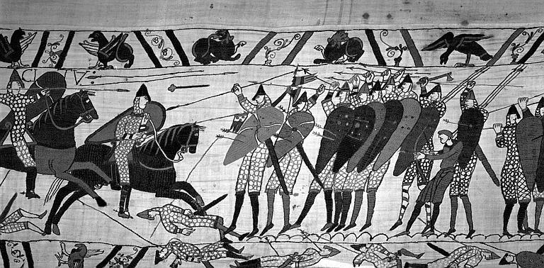 Tapisserie de Bayeux (avers),  69B : Cavaliers normands face aux Anglais à pied