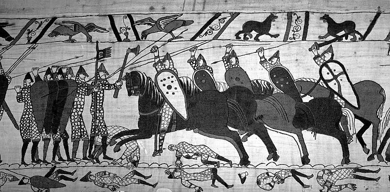 Tapisserie de Bayeux (avers),  70B : Combat entre Normands et Anglais