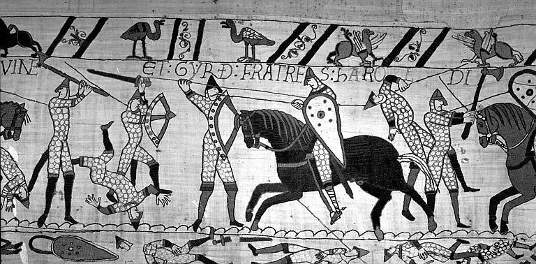 Tapisserie de Bayeux (avers),  72B : Mort de Lewine et Gyrd, frères d'Harold