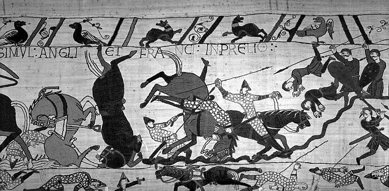 Tapisserie de Bayeux (avers),  74B : Suite de la bataille d'Hastings, cavaliers et chevaux tombant à la renverse