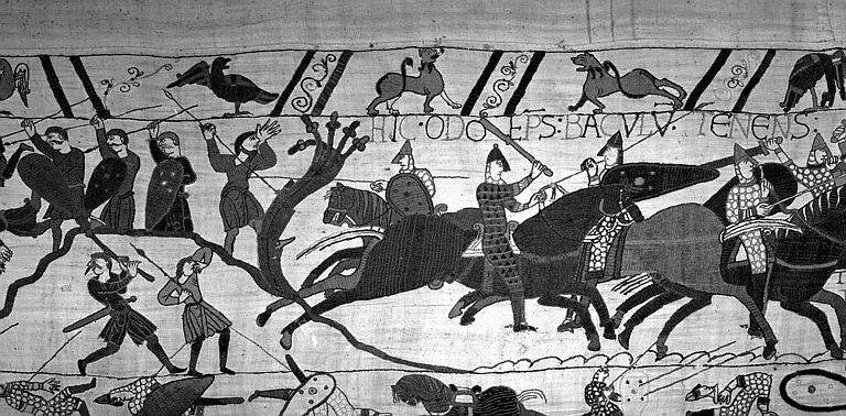 Tapisserie de Bayeux (avers),  75B : Odon, évêque de Bayeux, frère de Guillaume encourageant les Normands