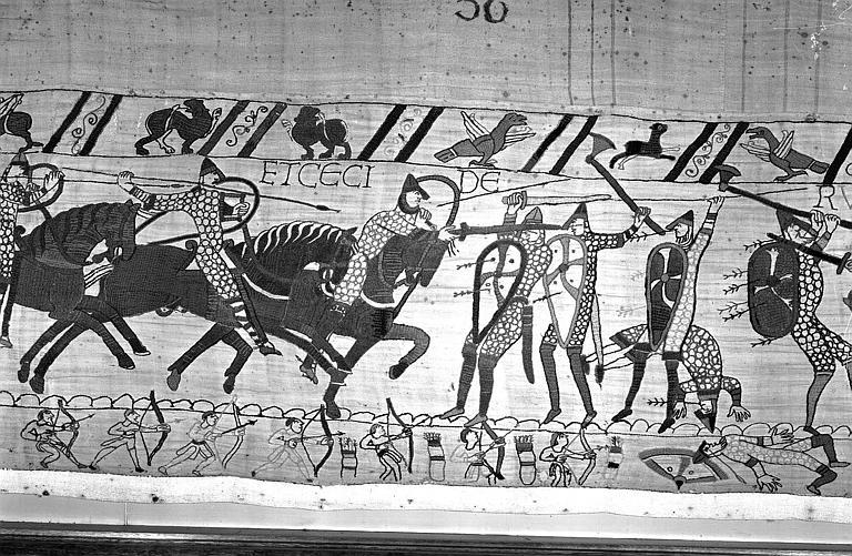 Tapisserie de Bayeux (avers),  78B : Cavaliers normands chargeant les Anglais