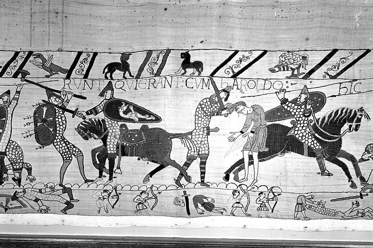 Tapisserie de Bayeux (avers),  79B : L'armée d'Harold est taillée en pièces