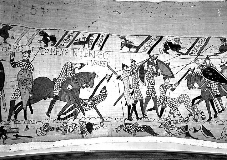 Tapisserie de Bayeux (avers),  81B : Harold meurt les armes à la main