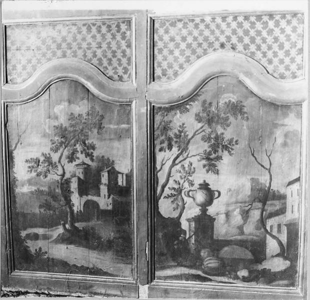 lambris de revêtement, deux panneaux, deux tableaux : paysages