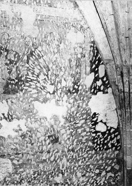 peinture murale : cycles de l'enfance et de la Passion du Christ, trois personnages, détail du mur sud