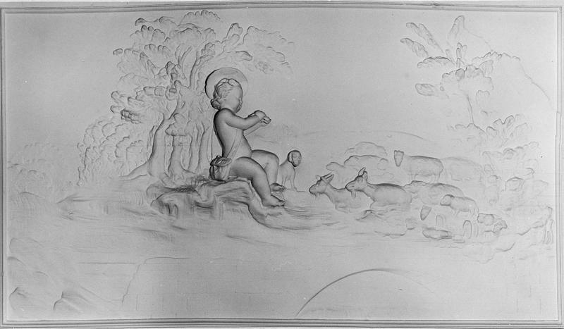 cinq bas-reliefs (décor intérieur), l'enfant berger