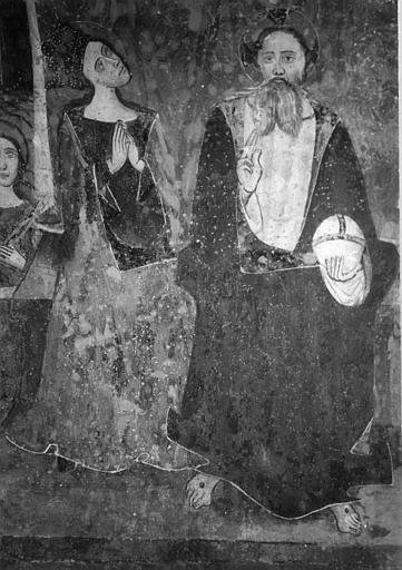 Mur nord ; peinture monumentale : détail de la Vierge et du Christ