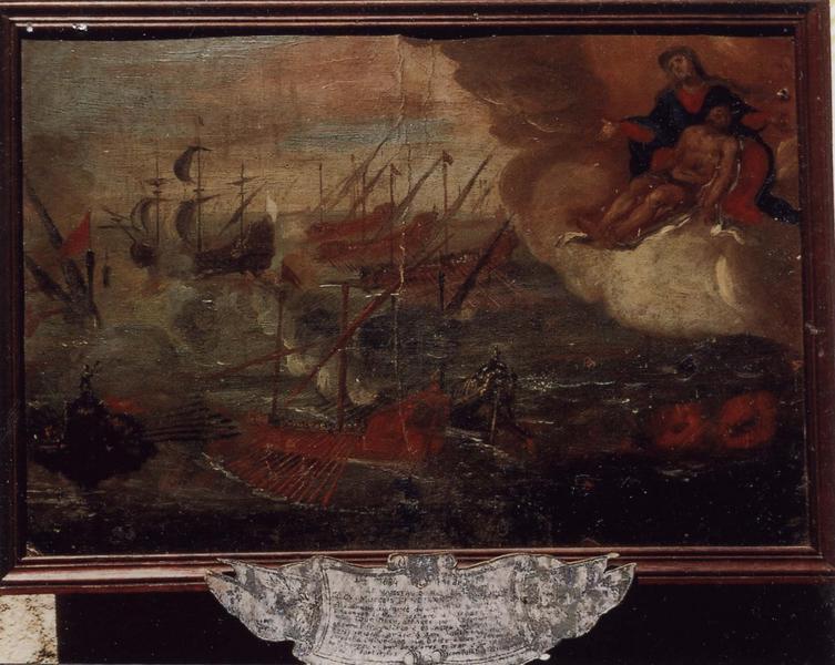 Ex-voto 5 (cadre) : Combat naval du vaisseau LE BON au large du Cap Corse le 10 juillet 1684, vue générale