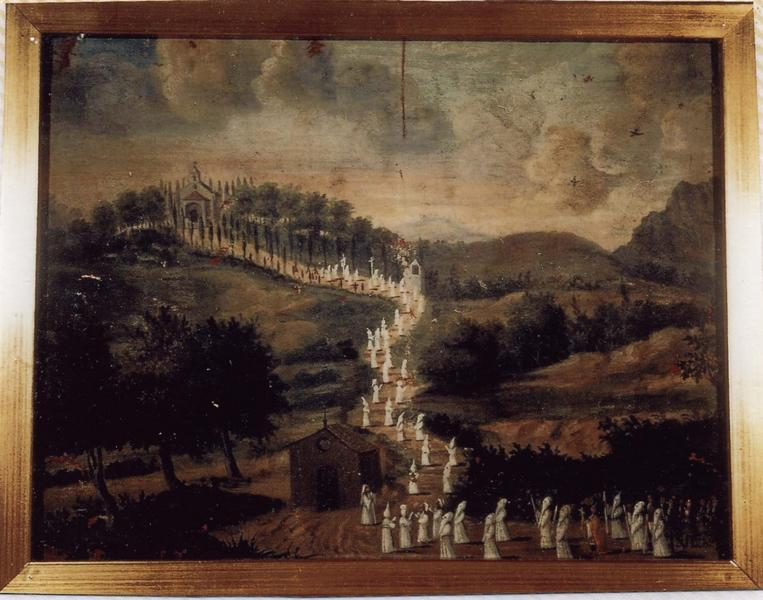 Ex-voto 9 (cadre) : Procession de pénitents blancs au sanctuaire de Notre-Dame-de-Pitié, vue générale