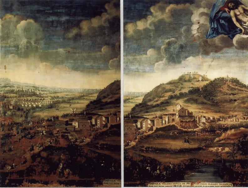 Ex-voto 6 (cadre) : Scène de bataille dans la plaine d'Argens (invasion des troupes du duc de Savoie), vue partielle