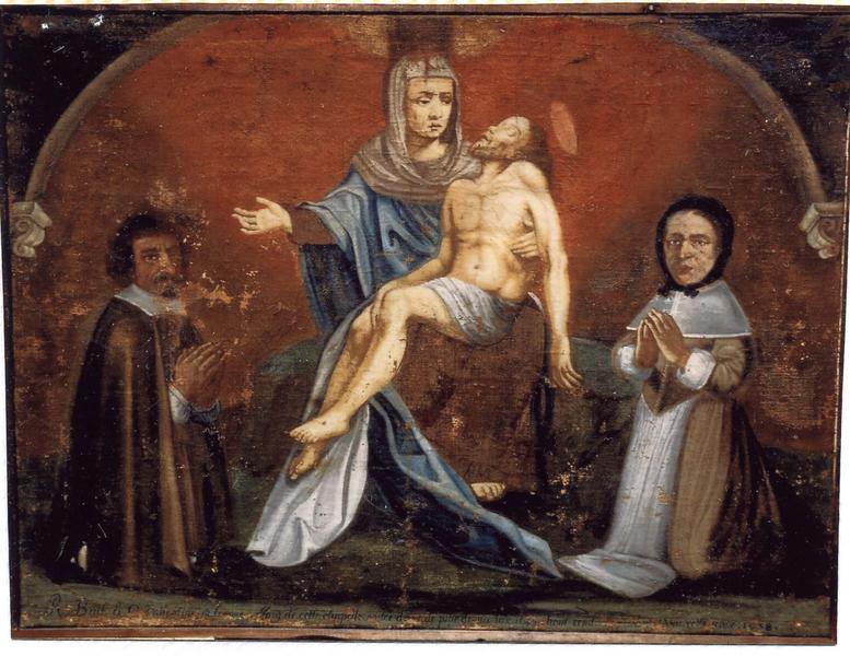 Ex-voto 11 : R. Boeuf et C. Valentine son épouse en prière devant Notre-Dame de Pitié et sainte Marie-Madeleine, vue générale
