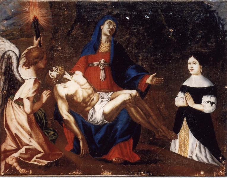 Ex-voto 12 : Donatrice en prière devant Notre Dame de Pitié et un ange portant flambeau, vue générale