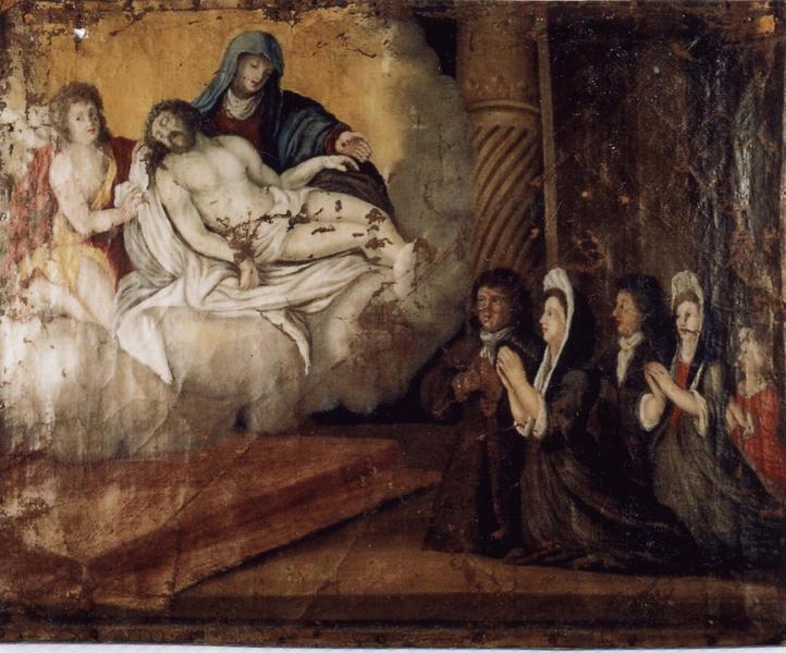 Ex-voto 14 : Une famille en prière devant Notre Dame de Pitié et saint Jean-Baptiste (?), vue générale