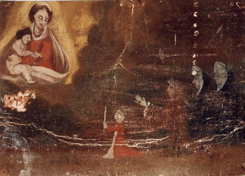 Ex-voto 19 : Quatre personnages en action de grâce, dont le plus jeune offre un cierge à la Vierge à l'enfant, vue générale