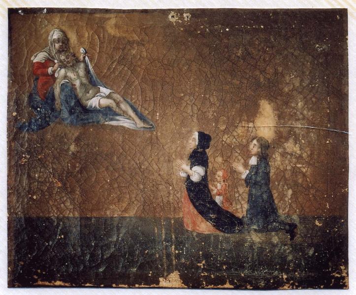 Ex-voto 23 : Un couple avec un enfant en action de grâce à Notre-Dame-de-Pitié, vue générale
