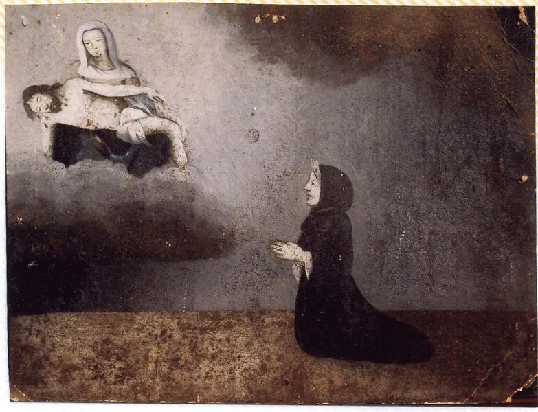 Ex-voto 26 : Femme agenouillée en prière devant Notre-Dame-de-Pitié, vue générale
