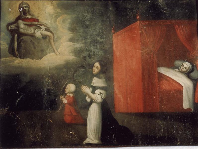 Ex-voto 37 (cadre) : Femme et son enfant en prière devant Notre-Dame-de-Pitié. Malade alité attendant la guérison, vue générale