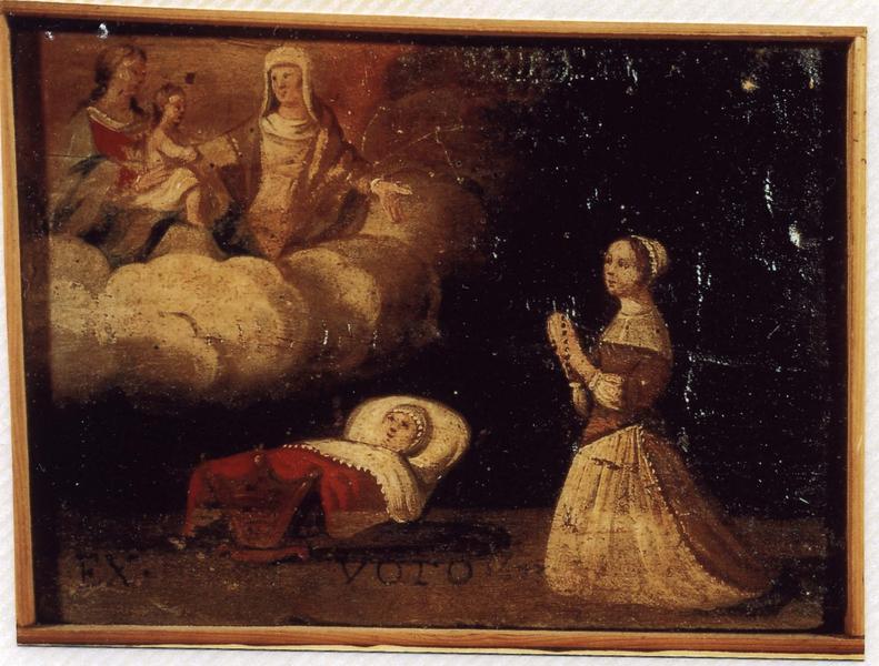 Ex-voto 56 : Guérison d'un enfant dans un berceau. Remerciement à la Vierge à l'Enfant (avec sainte Anne?), vue générale