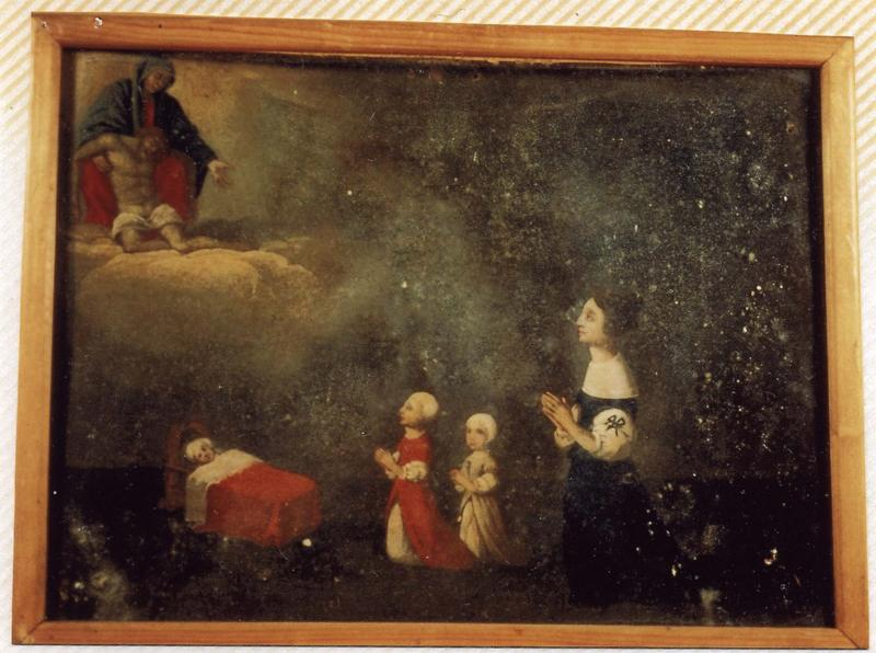 ex-voto 60 : Guérison d'un enfant dans un berceau. Une jeune maman et deux fillettes en action de grâce devant Notre-Dame-de-Pitié, vue générale