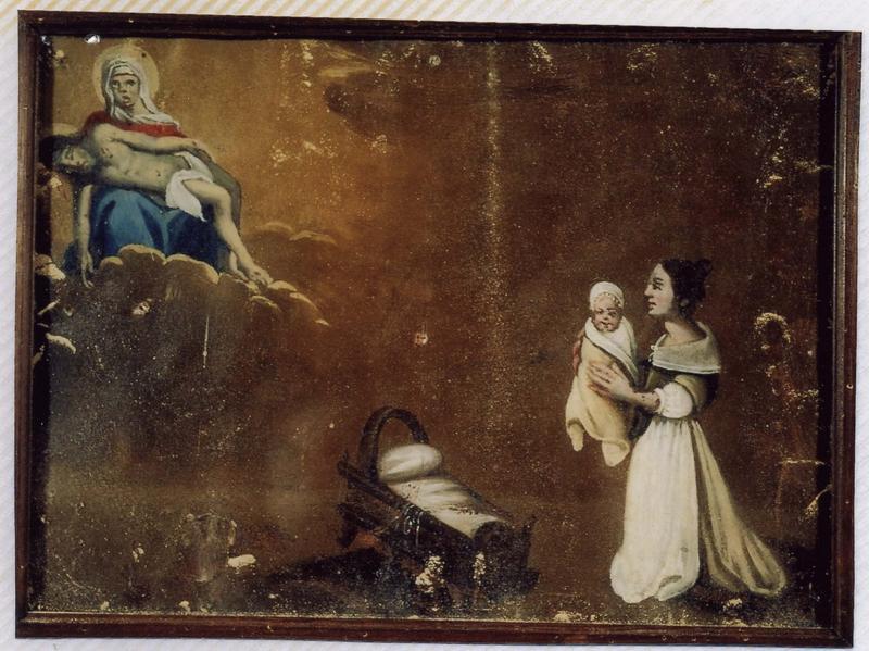 Ex-voto 62 (cadre) : Guérison d'un enfant. La mère présente son enfant emmitouflé à Notre-Dame-de-Pitié, vue générale