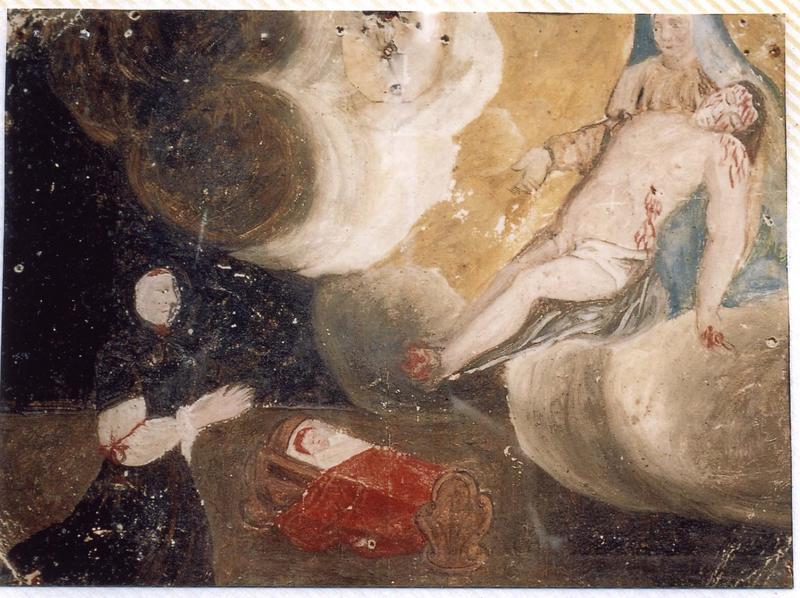 Ex-voto 66 : Guérison d'un enfant. Femme agenouillée devant un berceau supplie Notre-Dame-de-Pitié, vue générale