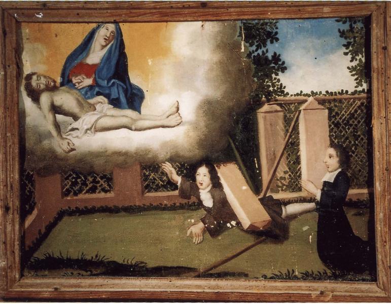 Ex-voto 72 : Accident de clôture. Précepteur en action de grâce devant Notre-Dame-de-Pitié, vue générale