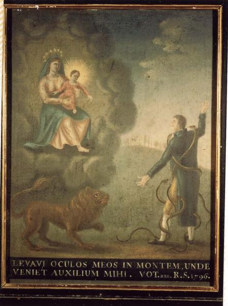 Ex-voto 79 (cadre) : Homme attaqué par des serpents et un lion. Invocation de la Vierge à l'Enfant, vue générale