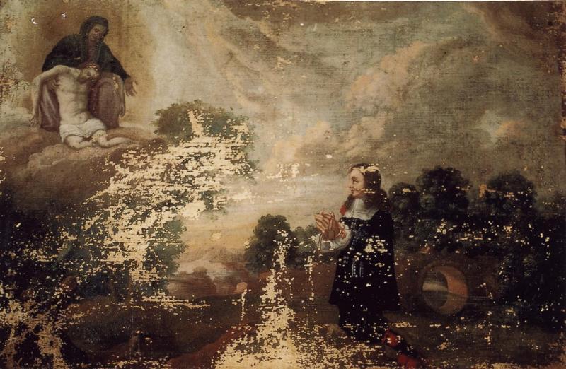 Ex-voto 85 : Homme en prière avec un scapulaire dans un paysage devant Notre-Dame-de-Pitié, vue générale