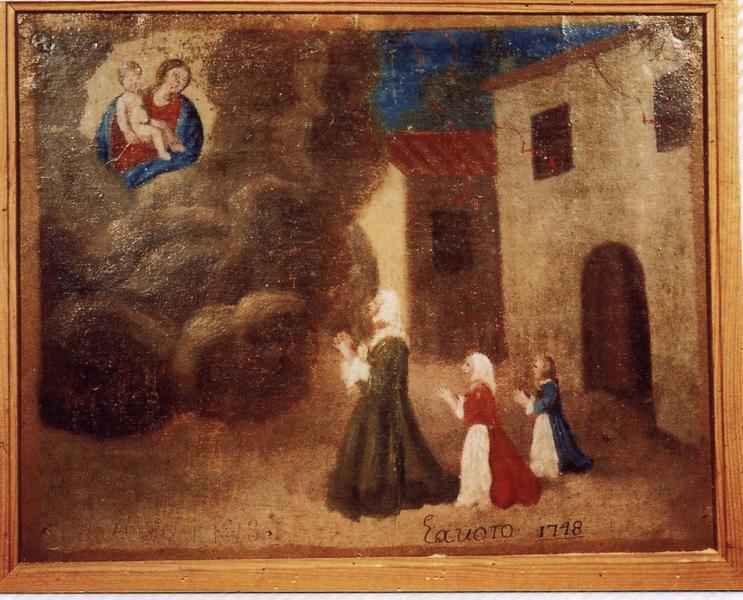 Ex-voto 88 (cadre) : Protection obtenue contre un incendie. Femme et deux jeunes filles en prière devant la Vierge à l'Enfant, vue générale
