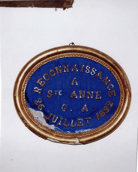 Ex-voto 92 : Reconnaissance à sainte Anne G.A. 26 juillet 1892