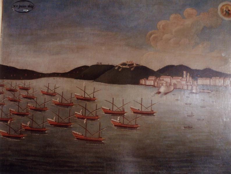 Ex-voto 104 (cadre) : Bataille des Espagnols (Arrivée des galères devant le port de Saint-Tropez), vue générale