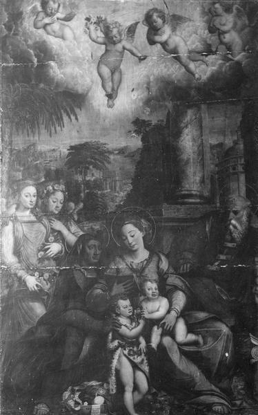 Tableau : la Sainte Famille avec sainte Elisabeth et saint Jean-Baptiste