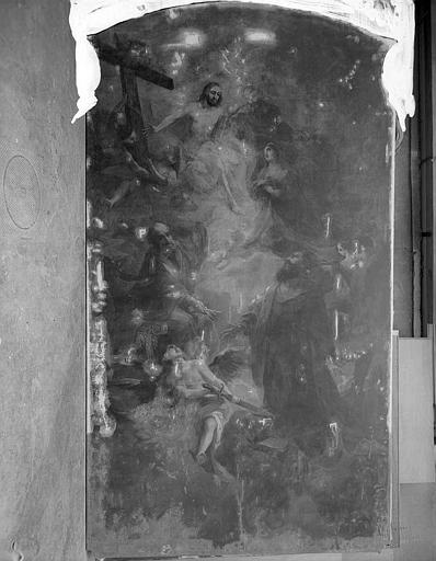Peinture sur toile : La sainte Trinité, saint Pierre, saint Paul