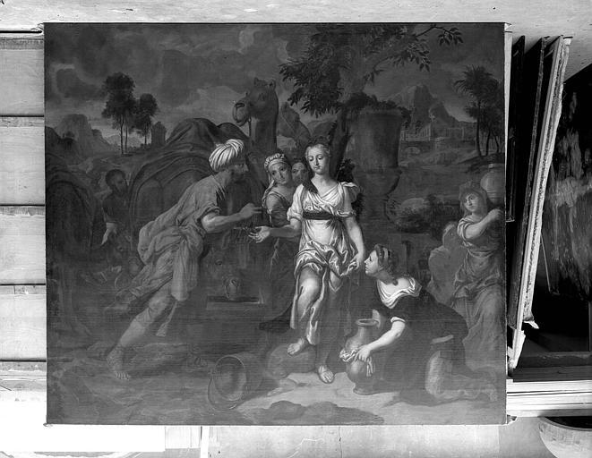 3 tableaux : Eliézer et Rébecca, Gédéon, offrande à un Patriarche