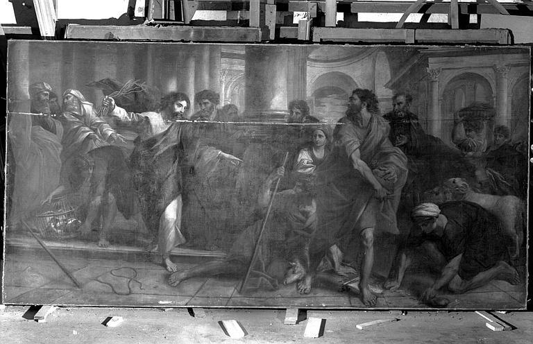 Peinture sur toile provenant de Saint-Géry : Jésus chassant les marchands du temple (suite de douze grandes toiles de la Vie du Christ)