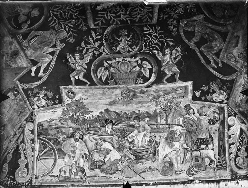 peinture monumentale : scènes de pêche et de chasse, les quatre saisons, vue partielle