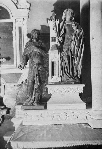 Statues : Saint Joseph (?), sainte Barbe, vue générale