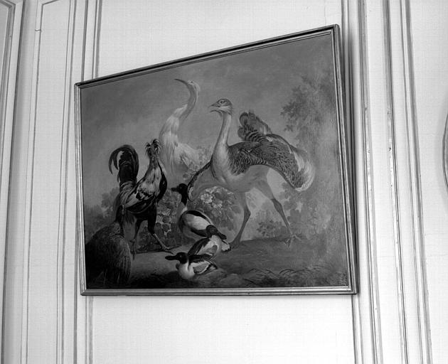 Peinture sur toile faisant partie d'un ensemble représentant les oiseaux des 4 parties du monde : Oiseaux d'Europe (Bureau du Directeur)