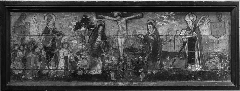 retable (polyptyque) : Le Christ en croix entre saint Jean, la Vierge et la Madeleine, Deux évêques et un donateur