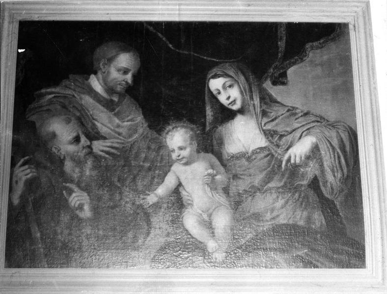 tableau : Sainte Famille avec cardinal donateur