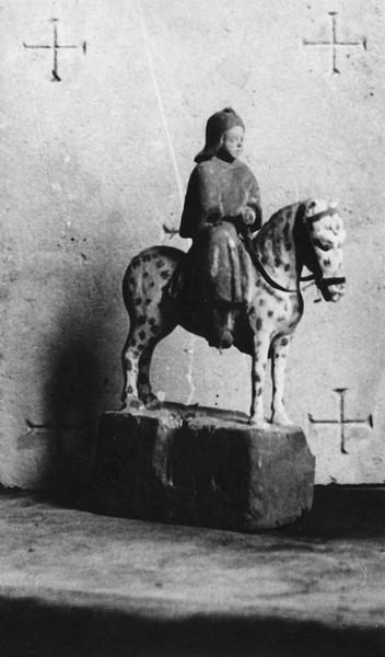 Élément de bâton de procession de confrérie : Saint Gengoult à cheval